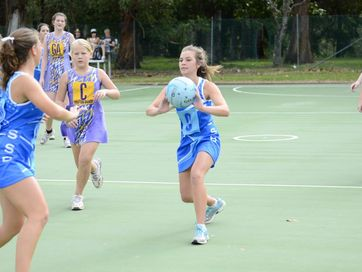 Netball match between SSB Blues and Rhino's Gems at the Grafton Netball courts on Saturday.