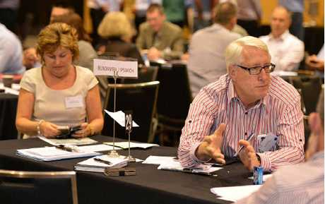 AMICABLE: MPs Jo-Ann Miller and Ian Berry at the Queensland Plan Summit.