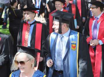 The latest group of academic achievers marched through Maryborough on their way to the Brolga Theatre to officially graduate on Saturday, May 11.