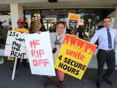 Union members unhappy with pay talks with McDonalds are protesting outside Tauranga's 11th Ave restaurant.