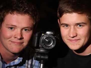 wta040513abfilming.jpg 04.05.13 Makoura College students and videography partners Henry Sinclair, 17 (left) and Tom Feringa, 16, film Carterton's Gunslingers Ball for a school project.