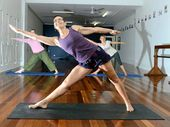 Julie Hodges, from the Lismore Yoga Studio, instructs Cyndte Kis of Goonellabah and Missy Mangold of North Lismore.
