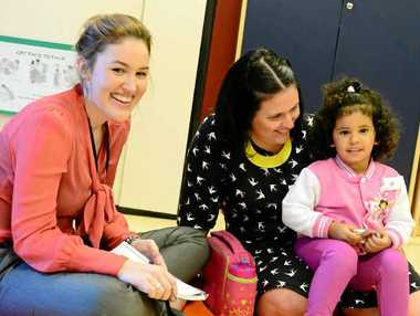 Speech pathologist Rebecca Watson with mum Tara Serrano and daughter Vienna, 2, at Gladstones Community Health Centre.