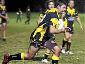 Caboolture skipper Nick Taylor leads the way in a pre-season clash against Bribie Island.