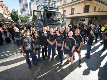 Some 500 Volvo staff packed the Queen Street Mall on Tuesday for the launch of the Volvo FH.