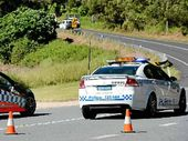 CRASH: Police on the scene at Tweed Valley Way yesterday. Photo: John Gass