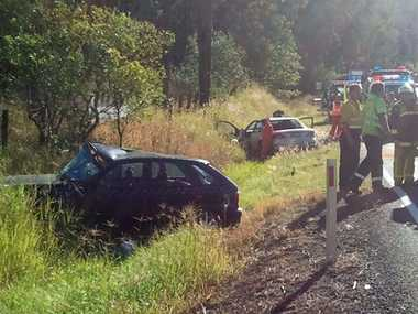 Three motorists were hospitalised after this Pacific Highway crash at Glenugie