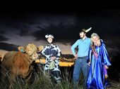 Golden Star (the bull), Josh Rankin (dressed as the cow) Dan Nicholson (Mr Beef 2012) and Amy Smith (Beef Week Queen 2012). Photo Mireille Merlet-Shaw