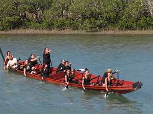 A crew practices in the waka tete Te Taki o Te Autahi ahead of Saturday's welcome.