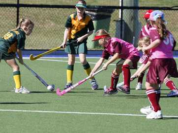 Ipswich Junior Hockey: E-grade girls: Collegians versus Bellbowrie.