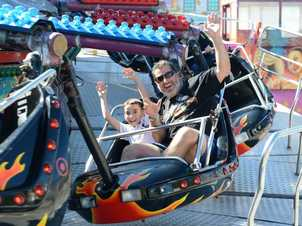 Marco Nerz with his son Shaughn Walker-Nerz enjoying a day out at the Ipswich Show on Saturday.