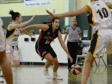 Ipswich Force women's basketball team playing in the QLD basketball league against Mackay on Saturday night.