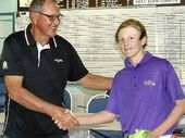TALENTED: Lucas Higgins (right) receives his prizes from Kyogle Golf Club captain Ron Murray after winning the boys title at the latest NRDGA Order of Merit competition.