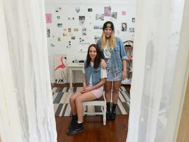 In between classes, budding designers Claudia Smith and China White work out new designs for their clothing label Fern Apparel.