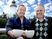 TWO FOR TEA: Pictured at Cape Byron lighthouse are Byron United president, Paul Waters and Ben Kirkwood from VIA Byron ready for tomorrow's Biggest Morning Tea.