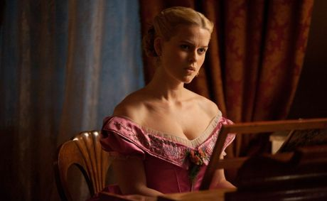 Alice Eve as Edgar Allan Poe's damsel in distress in The Raven.