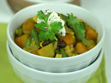 Chilean pumpkin and bean stew.
