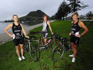 Three of the seven Tauranga triathletes heading to France. (Left to right) Terri Mann, Jo Tisch and Debbie Clark.