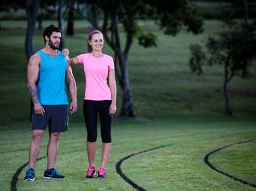 Kye Daley and Ashleigh McAuliffe model running and fitness fashions for Fashion File, wearing clothing from Amart Sports Rockhampton store.