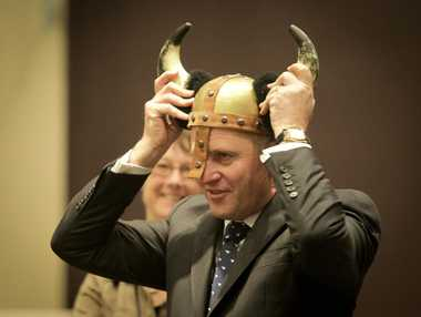 Prime Minister John Key was presented with a Viking helmet made by cave dwellers at Dannevirke Fantasy Cave during his visit to Dannevirke yesterday.