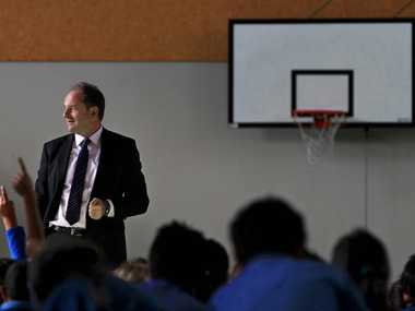 Labour leader David Shearer visited Merivale School and held community meetings to discuss housing in the area.