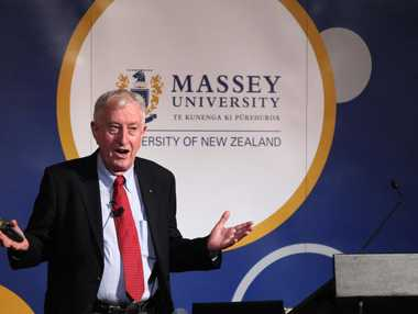 Peter Doherty, Nobel Prize winner, speaks on world health issues at the Hawke's Bay Opera House last night.