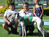 WINNING WAYS: A file picture of Beef Week Cup hope White Pony with Riley Torrens, trainer Shane Robinson and Tylah Robinson.