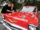 Old Skool Cars and Street Machines organisers Kathy and Kevin Lewis with a 57 Chev that will be on display at the event. Photo Vicki Wood / Caboolture News