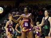 Romelda Aiken of the Firebirds passes during the round 13 ANZ Championship match between the Firebirds and the Fever at Brisbane Convention & Exhibition Centre on June 24, 2012 in Brisbane, Australia.