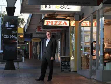 Bayleys commercial agent Rob Pinny agrees with the owner that the most sensible way to earthquake-proof a row of eight Devonport Rd stores is to knock them down and start again. PHOTO/JOHN BORREN