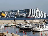 MASSIVE OPERATION: The salvage operation on the sunken cruise ship Costa Concordia is the largest ever of its kind. Joshua Thomas (inset) is the only Australian diver on the project.