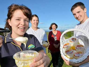 CULTURE CLUB: Leonie, Jennepher, Sara and Jonathan Bucher give their winning yoghurt the taste test in Maleny yesterday.