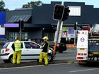 A DRIVER has crashed into a traffic light at Minjungbal Dr and Machinery Dr intersection this morning about 11.45am.