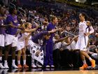 Brittney Griner #42 of the Phoenix Mercury high fives teammates on the bench as she checks out of the preseason WNBA game against Japan at US Airways Center on May 19, 2013 in Phoenix, Arizona.