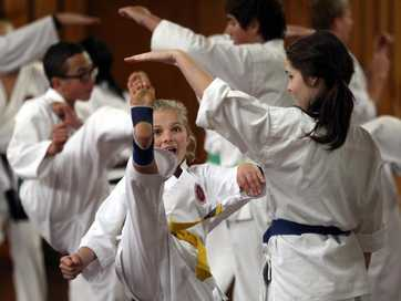 Children from throughout the eastern North Island gathered in Central Hawke's Bay at the weekend for the Waipukurau Karate Clubs training camp at Pukeora Estate. Hawke's Bay Today photographer Paul Taylor dodged the flying kicks and punches as kids practised their karate.