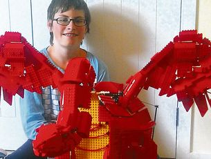Stania Kelgr with his award winning dragon. Photo / Te Awamutu Courier
