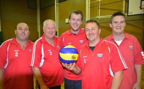 NADS (from left) Darren Burt, Dave Lewis, Matt Pulley, Mark Wickham and Darren Shuptrine won the men's premiership in Warwick volleyball on Monday night.