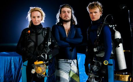 From left, Lisa McCune, Andrew Ryan and Justin Holborow in a scene from the TV series Reef Doctors.