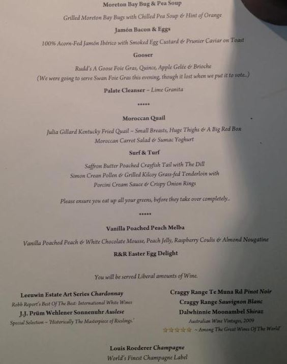 The menu at the centre of the Mal Brough controversy.