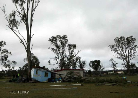 The aftermath of the storm that slammed into the Southern Downs community of Pratten overnight.