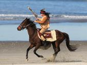 A Native American riding bareback across the Harbour Bridge and along Mount Maunganui beach turned some heads - and startled some dogs.