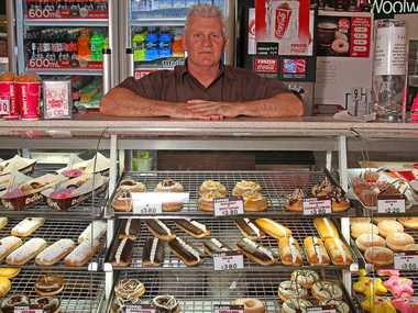 Michael Gee at his Donut King franchise at Sugarland Shopping Town after closing his other Donut King at Hinkler Shopping Centre due to the loss of half a year's revenue due to the floods early in 2013.