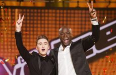 The Voice 2013 winner Harrison Craig with his coach Seal. Supplied by Channel 9/WIN. Please credit photo to Stuart Bryce.