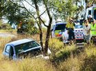 A 28-YEAR-OLD woman appeared lucky not to have been seriously injured after her car slammed into a tree on Tuesday.