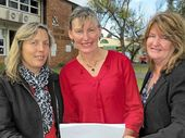 GRAND PLAN: Clifton State High School industry liaison officer Amanda Beatson, principal, Joy Craig, and head of Alternate Pathways Jayne Kennedy, look over the proposed plans for an agriculture and equine centre.