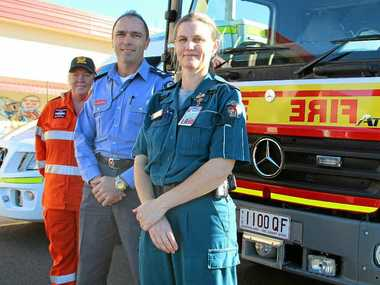 Paramedics and firefighters have tied for first place in the Readers Digest list of most trusted professions, followed closely by SES volunteers. (From left) Julie McKavanagh, Darren Welsh and Joanna Lindsay.