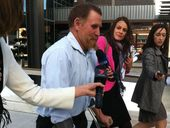 Witness in the inquest Desmond Edward Edmondstone leaves Brisbane Magistrates Court.