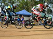 Connor Pratt leads Zane Read at the Maryborough Classic BMX.