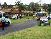 Police, ambulance and fire service in attendance at Power Ct Goodna where a car smashed through a house.