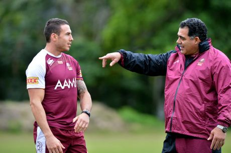 Queensland Rugby League State of Origin training at Coolum. Darius Boyd with Mal Meninga.